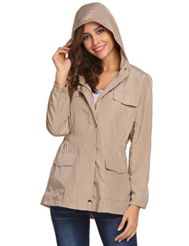 Zip Hooded Anorak - Pinspark Women's Zip Jacket Lightweight Hooded Waterproof Active Rain Coat Outdoor Anorak Khaki XXL