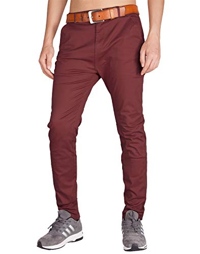 - ITALY MORN Men's Chino 5 Pocket Flat Front Casual Pants 38 Burgundy