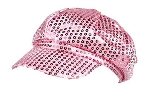 (Newsboy Cap Women Sequins Cadet Women Military Baker boy Spring Shiny Gatsby Flat Hats,Pink,one Size)