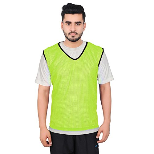 Mesh Training Bibs - GSI 6 Large Yellow Mesh Sports Training Bibs/Pinnies/Scrimmage/Vests for Soccer, Basketball, Football, Volleyball and other Team games - Pack of 6 (Yellow, Large)