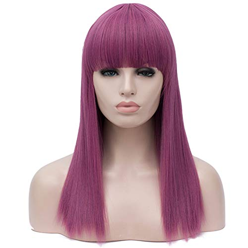 OneUstar Women Long Straight Wig with Bangs 20 Inch Synthetic Heat Resistant Full Hair Party Cosplay Costume Wig Mal Wig -