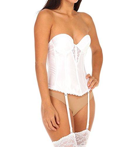 Va Bien Women's Satin Low Back Bustier, White, 34D (Va Bien Bustier)