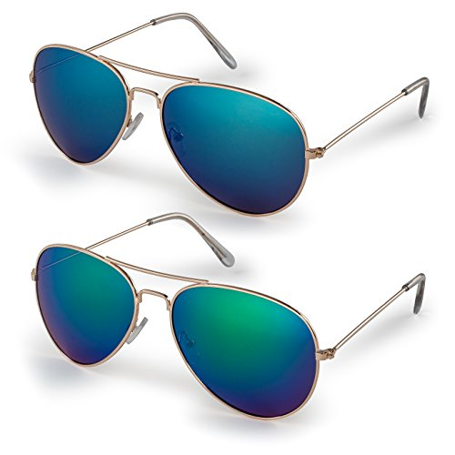 - Stylle Classic Aviator Sunglasses and Black Cloth Protective Bag, 100% UV Protection, Pack of 2, Gold Frame/Blue Lens + Gold Frame/Green Lens