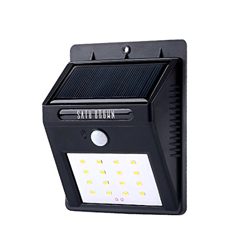 Solar Motion Sensor Light 16LED Outdoor Solar Powered Water Resistant Wireless Security Wall Light Path Lighting Spotlight for Garden, Fence, Yard, Patio, Deck, Home, Driveway, Stairs