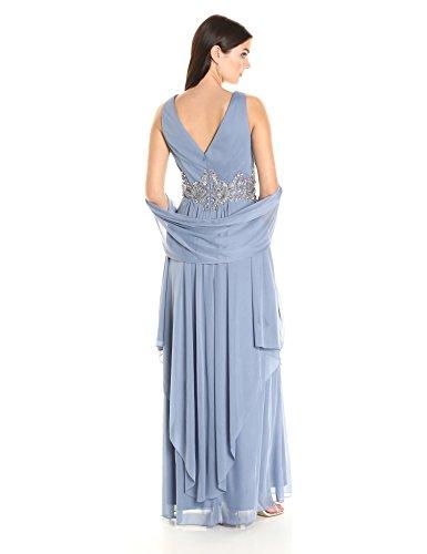 Soirées Alex Womens Longue Robe Avec Deux Niveaux Jupe Robe Bleu Clair