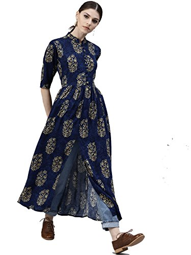 Designer Kurta Kurti Navy Blue New Paisley Indian Women Bollywood Ethnic Pakistani Long Dress Rayon (XXL)