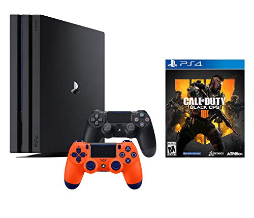 PlayStation 4 Call of Duty Black Ops IIII and 4K HDR PlayStation 4 Pro 1 TB Console with Extra Sunset Orange Dualshock 4 Wireless Controller (Split-Screen Play Available)
