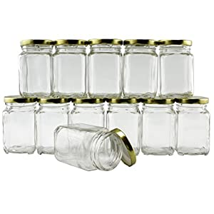 6-Ounce Square Victorian Jars (12-Pack), Candle Jars Pack of Steampunk Square Glass Jars with Screw-On Lids, Ideal for…