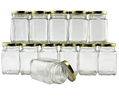 6-Ounce Square Victorian Jars (12-Pack), Bulk Value Pack of Steampunk Square Glass Jars with Screw-On Lids, Ideal for Spice Storage, Wedding and Party Favors, DIY Projects & More! (Set of 12) ()