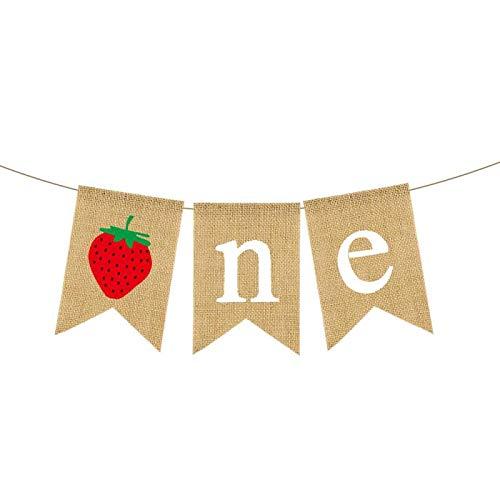 Rainlemon Burlap Strawberry One Banner Rustic Jute Baby Girl 1st Birthday Party Highchair Bunting Garland Decoration -
