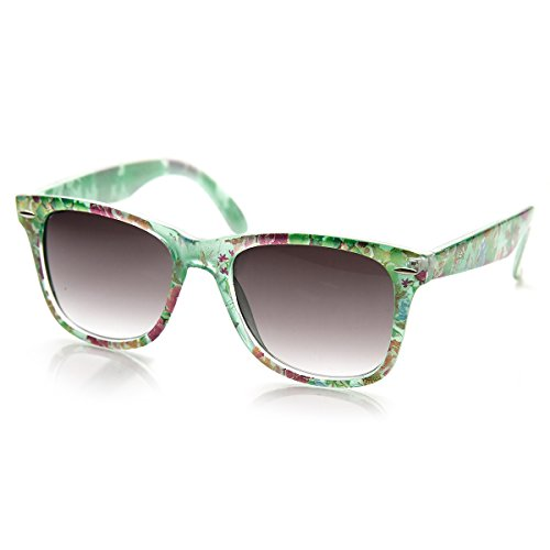 zeroUV - Flower Print Floral Translucent Womens Horn Rimmed Sunglasses (Green - Sunglasses Translucent Are