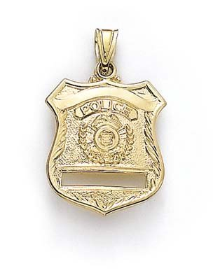 Or 14 ct Taille M Badge de Police Pendentif