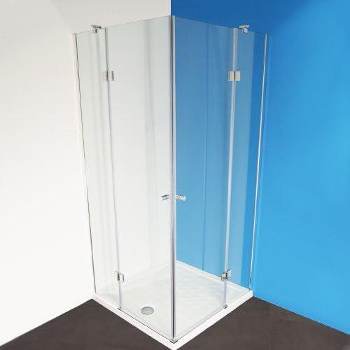 Cabina de ducha adk100 esquina ducha Mampara con esquina. Incluye ducha bañera con revestimiento de goma y empuje 90 x 90 x 190: Amazon.es: Bricolaje y herramientas