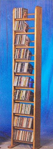 10 Row Dowel Tower CD Rack (Honey Oak)