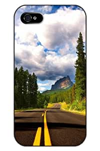 SPRAWL iPhone 5 5S Case Hard Plastic Protective Snap on Clear Design Unique Vintage Road Leading to Mountains