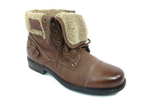 Polar Fox New Men's Winter Ankle Boot Fold Down Fur Combat 506015 (6.5 U.S (D) M, Light Brown)