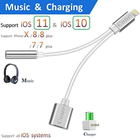 iphone 7 / 7 plus / 8 / X adapter, (Support iOS 10.3, iOS 11)Cone 2 in 1 Lightning Adapter and Charger, Lightning to 3.5mm Aux Headphone Jack Audio Adapter for iphone X, 8, 8 plus, 7, 7 plus(Silver)