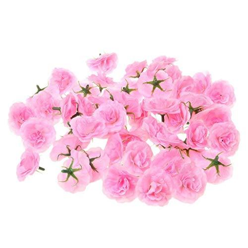 BROSCO 50x Artificial Silk Carnation Fake Flower Heads Home Wedding Decor Pink ()