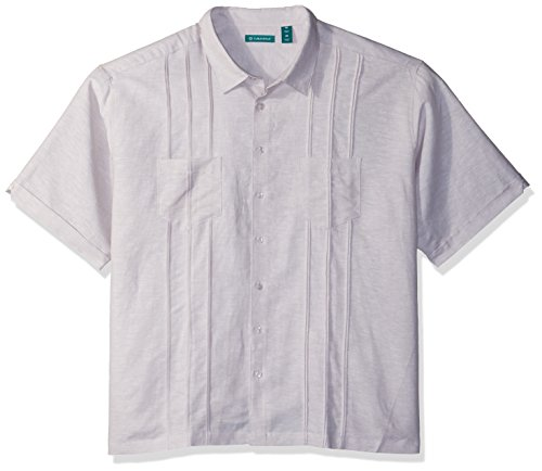 Cubavera Men's Big Short Sleeve Linen-Blend Shirt with Two Top Pockets and Pleats, Natural, X-Large Tall