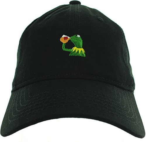 (Kermit the frog hat Sipping Tea Black)