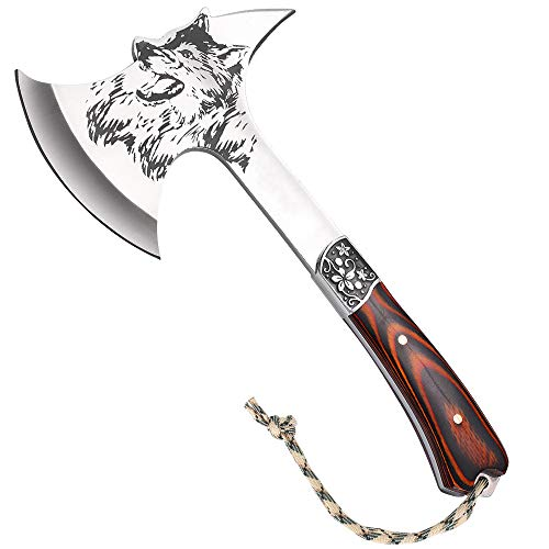LIANTRAL Camping Hatchet, 12 inches Wolf Head Survival Tactical Axe with Spike and Nylon Sheath for Outdoor Hunting Camping