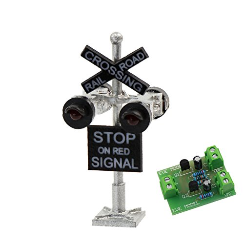 Evemodel JTD1506RP 1 set N Scale Scale Railroad Train/Track Crossing Sign 4 heads LED made + Circuit board flasher-Flashing Red Train Signal Lights Decoration and Party by Evemodel