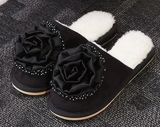 Chaussons coton mode féminine Accueil intérieur anti - skid pantoufles belle automne et chaussures chaudes d'hiver , black , 38
