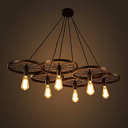 Warehouse of Tiffany LD4089-6 Nathaniel 6-Light Black Inch Edison Chandelier with Bulbs, - Warehouse Chandelier