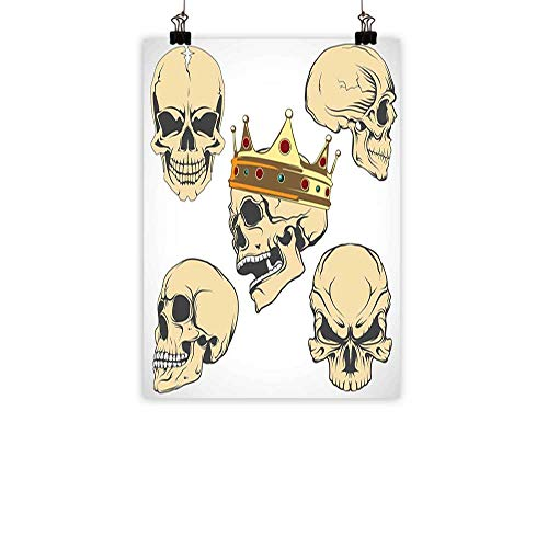 BarronTextile Skull Simulation Oil paintingSkulls Different Expressions Evil Face Crowned Death Monster Halloween Print Decorative Painted Sofa Background wallSand Brown Yellow -