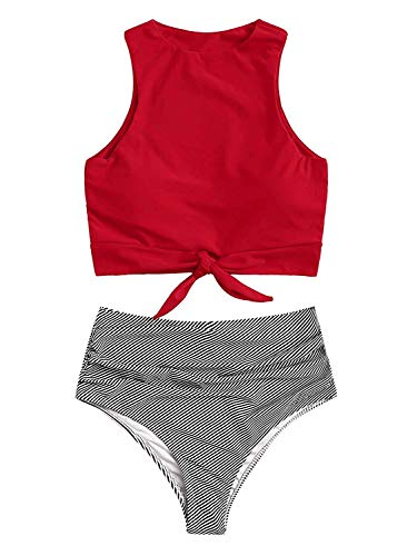 Sofia's Choice Two Piece Swimsuit for Women Tie Front Crop Top and High Waisted Floral Printed Bikini Bottom Bathing Suits (Red1, Small)