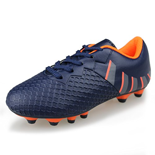 Hawkwell Comfortable Soccer Shoes(Toddler/Little Kid/Big Kid),Navy Orange PU,13 M US