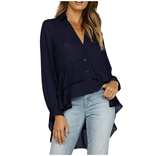 Yoyorule Autumn Pullover Top Fashion Women V-Neck Long Sleeve Solid Pockets Button Ruffles Tops Blouse Navy (Mock Crocodile Belt)