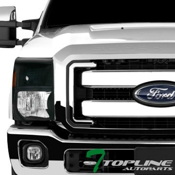 Topline Autopart Black Crystal Head Lights Headlights Signal Blinkers Amber DY V2 For 11-16 Ford F250 / F350 / F450 / F550 Superduty Pickup