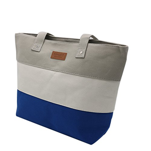 Tibes Lightweight Canvas Women Shoulder Bag Shopper Tote Bag Large Gray ()