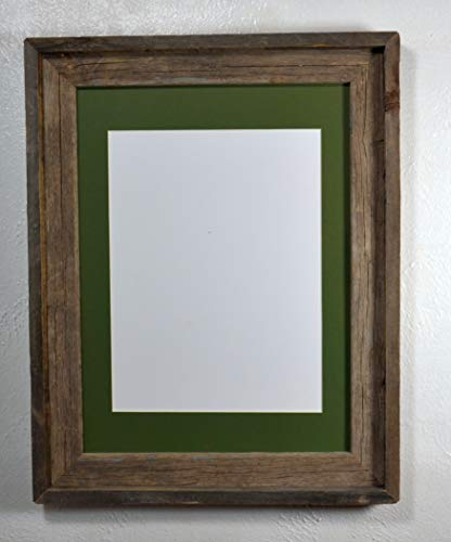 (Rustic Picture Frame Reclaimed Wood Wall Hung With 9x12 Green Mat and Glass 12x16 Without Mat)