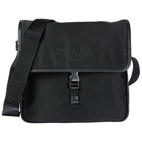Prada Men's Tessuto Nylon Flap Shoulder Bag Black - Tessuto Black Bag
