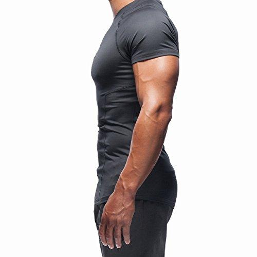 BROKIG Men's Muscle Compression Shirt, Dry Fit V Neck Gym Workout Shirts Base Layer Short Sleeve Tops