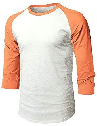 Ma Croix MX Mens Baseball Raglan 3/4 Sleeve Casual Basic Plain T Shirts, Unisex-Adult Mens, 1hc08_Oatmeal Heather/Cantaloupe, Medium