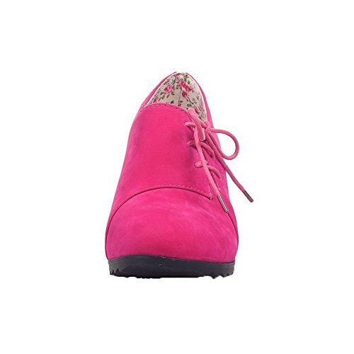 AgooLar Damen Mattglasbirne Rund Zehe Mittler Absatz Schnüren Rein Pumps Schuhe Rosa
