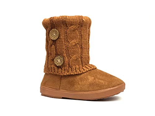Baby Shearling Boots - Kids Boots Toddler Girls Cute 2 Buttons Faux Fur Suede Knitting Shoe | 285 (Toddler 7, Camel)