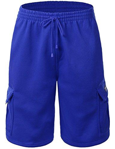 Men's Cargo Sweat Shorts Elastic Drawstring Casual Loose Fit Fleece (X-Large, 1RD0002-Royal Blue)