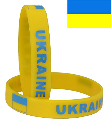 VEWCK Flag Silicone Bracelet Classic Bangle Letter pattern 40 countries 2-Pack (Ukraine-Yellow)