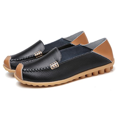 Slippers Moccasins Flat Scien Walking Casual Shoes Women's Driving C Slip Loafers Black on Leather w4q40vXa