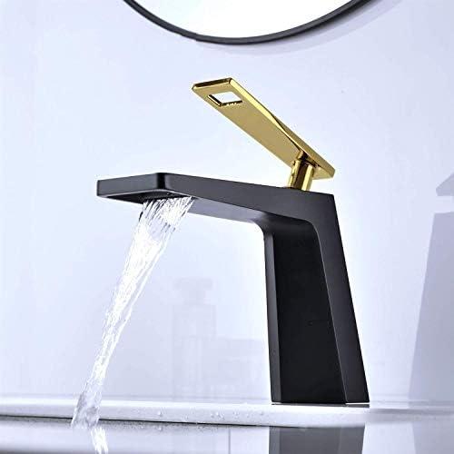 ZT-TTHG 流域の蛇口の銅の滝ブック浴室洗面ブラック蛇口ゴールドホットとコールド洗面台の上カウンター盆地蛇口セット浴室用タップ
