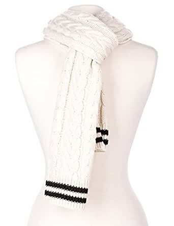 Mens Cable Knit Aristocrat Scarf - Ivory-Black
