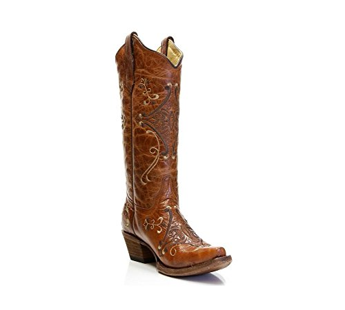 New Circle G By Corral Donna L5063 Ricamo Western Boot Cognac Marrone 6.5