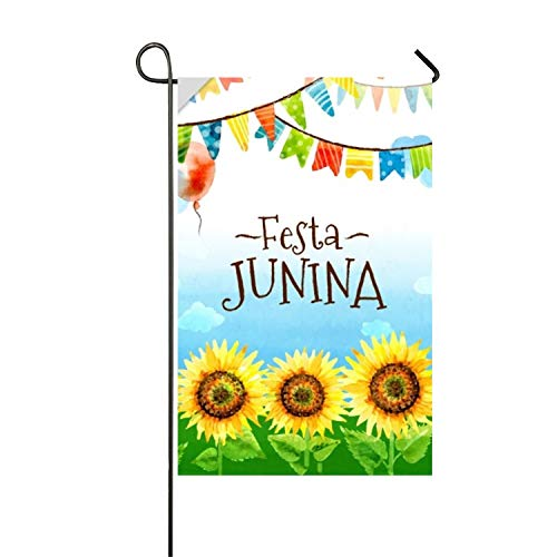 AIERYO Festa Junina Watercolor Sunflowers and Garlands Background Polyester Decorative Flag Garden Funny -