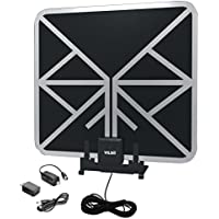 Vilso TV Antenna Amplified HD Digital (Flat Indoor - 65 Miles Range - Detachable Amplifier Signal Booster - 12ft Coax Cable - Black)