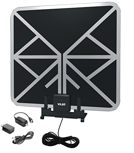 Vilso TV Antenna Amplified HD Digital (Flat Indoor - 65 Miles Range - Detachable Amplifier Signal Booster - 12ft Coax Cable - Black) (N Gauge Decoders)