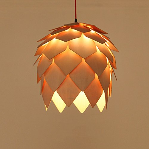 Pinecone Four Light - MGCHD European Wooden Chandeliers Pine Cones Living Room Restaurant Cafe Wood Lamps Size: 12 17cm A+ ( Size : B diameter 400460mm )